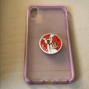 Tech 21 purple IPhone XS Max case with pop socket